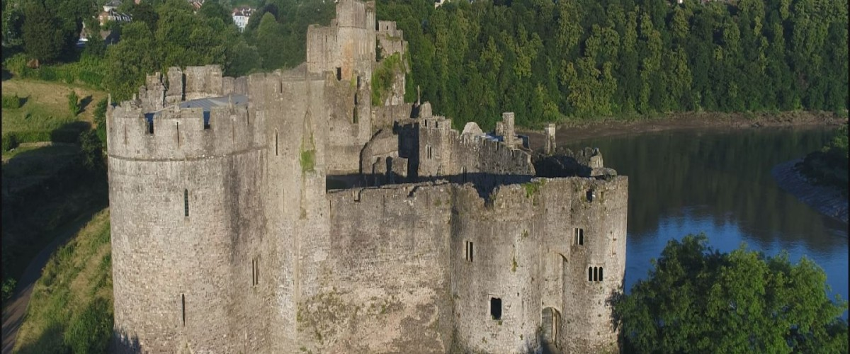 aerial Chepstow castle